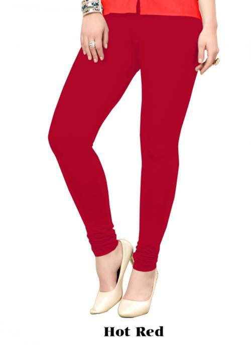 Office Wear Hot Red Cotton Plain Leggins