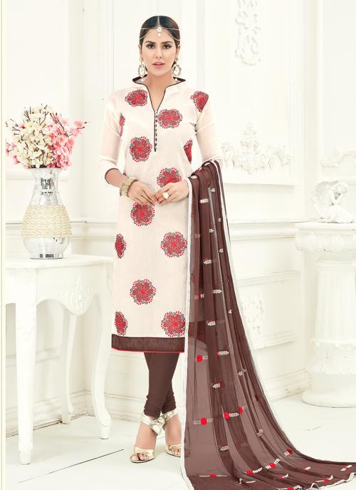 Office Wear Off White Chanderi Embroidery Churidar Suit