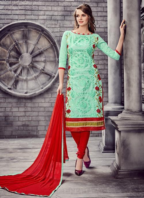 Office Wear Pista Green Cotton Embroidery Work Churidar Suit