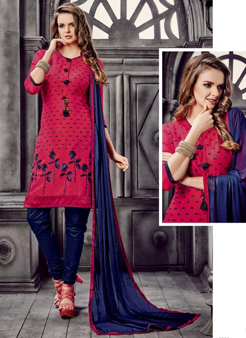 Office Wear Rani Cotton Embroidery Work Churidar Suit