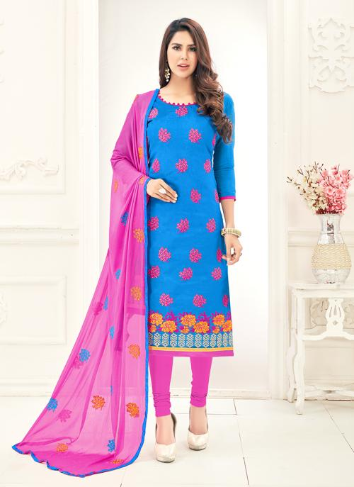 Office Wear Sky Blue Chanderi Embroidery Churidar Suit