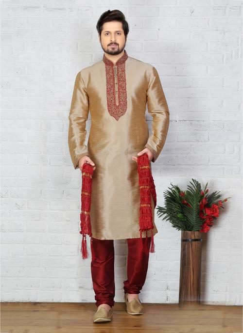 Party Wear Beige Art Silk Embroidery Work Sherwani Style