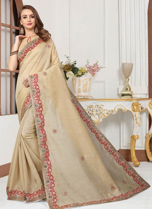 Party Wear Beige Cotton Silk Gota Work Saree