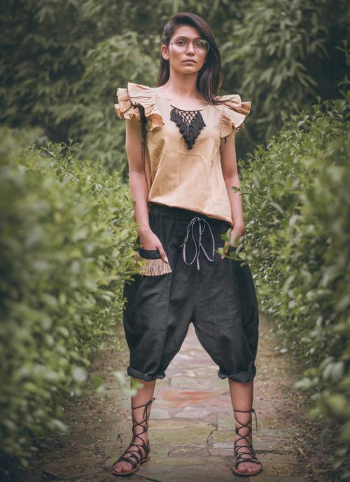 Party Wear Beige Khadi Silk Printed Work Top
