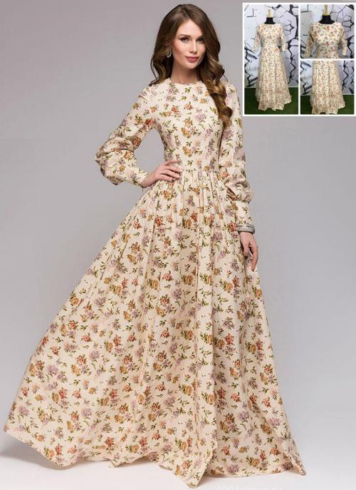 Party Wear Beige Muslin Cotton Printed Work Gown