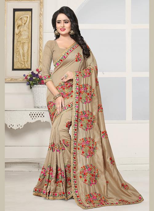 Party Wear Beige Silk Embroidery Work Saree