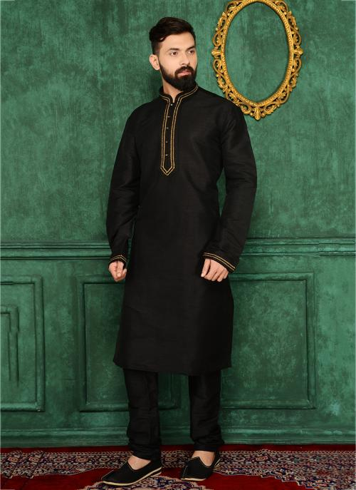 Party Wear Black Art Silk Embroidery Work Kurta Pajama