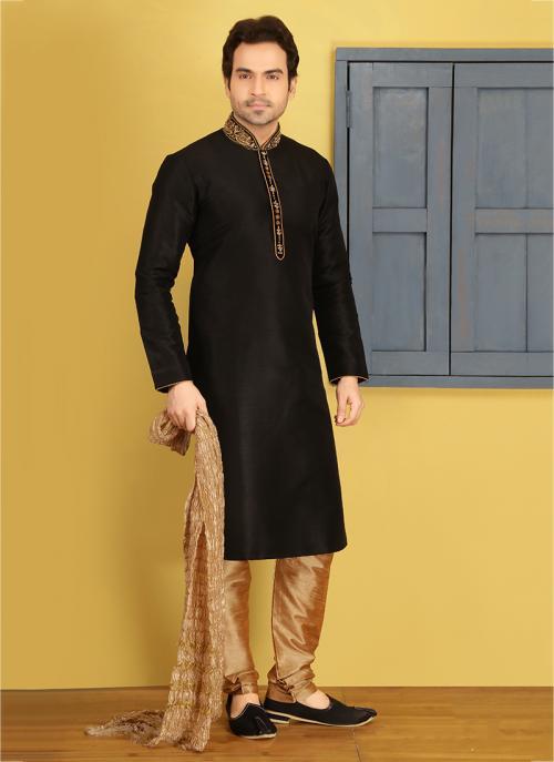 Party Wear Black Banarasi Silk Embroidery Work Sherwani Style