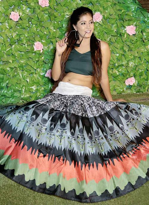 Party Wear Black Banglori Satin Silk Digital Print Skirt