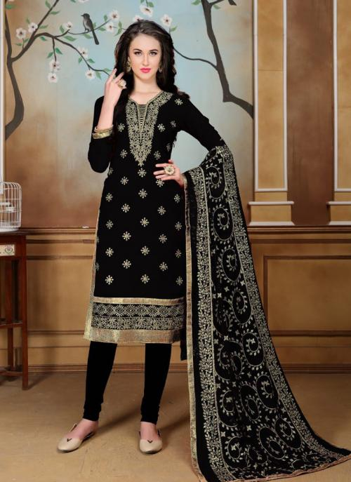 Party Wear Black Faux Georgette Heavy Embroidery Work Churidar Style