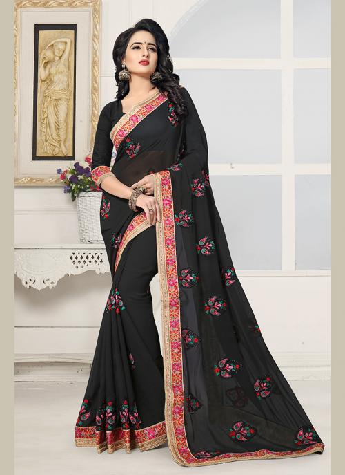 Party Wear Black Georgette Embroidery Work Saree