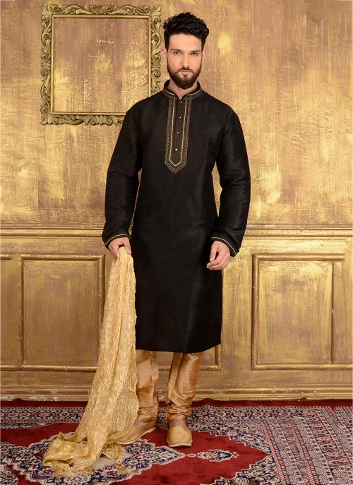 Party Wear Black Jacqaurd Silk Embroidery Work Kurta Pajama