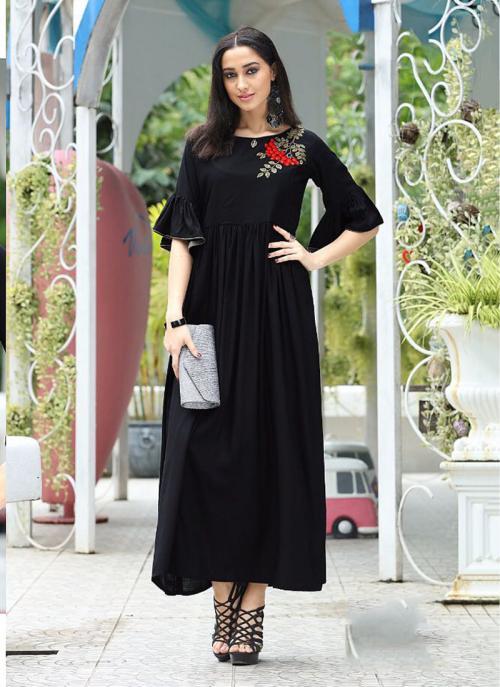 Party Wear Black Rayon Embroidery Work Kurti