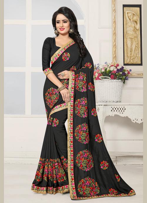 Party Wear Black Silk Embroidery Work Saree
