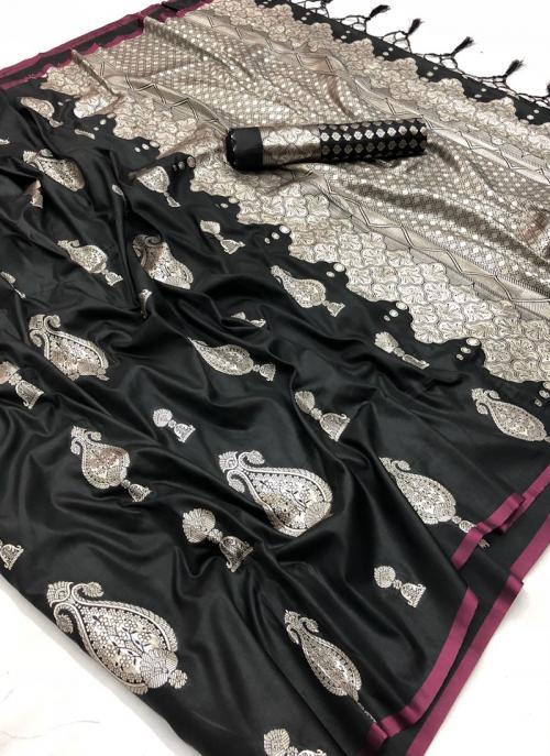 Party Wear Black Silk Zari Embroidery  Work Saree