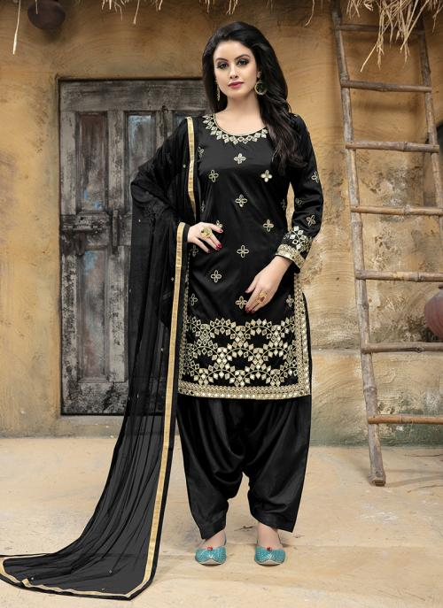 Party Wear Black Tapeta Silk Gota Patti Work Patiala Style