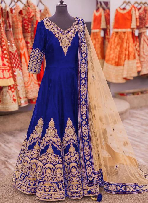 Party Wear Blue Banglori Silk Heavy Embroidery Work Anarkali Suit