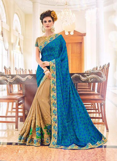 Party Wear Blue Fancy Georgette Embroidery Work Saree