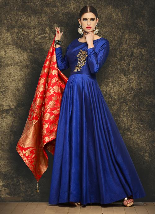 Party Wear Blue Mastani Silk Patch Work Anarkali Suit