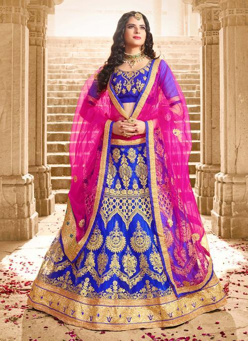 Party Wear Blue Net Zari Embroidery Work Lehenga Choli
