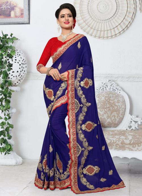 Party Wear Blue Rangoli Embroidery Work Saree