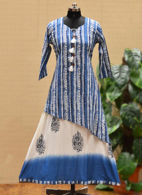 Party Wear Blue Rayon Printed Work Kurti