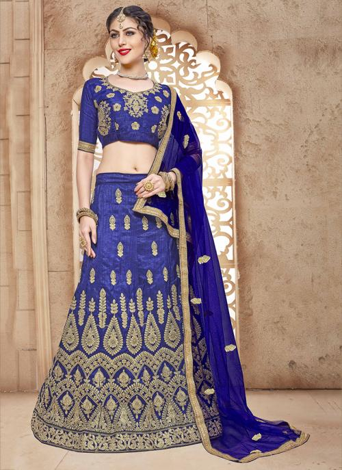 Party Wear Blue Silk Embroidery Work Lehenga Choli