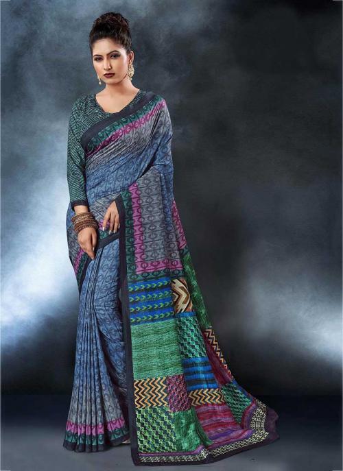Party Wear Blue Tussar Silk Digital Print Saree