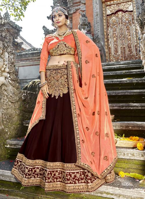 Party Wear Brown Georgette Embroidery Work Lehenga Choli