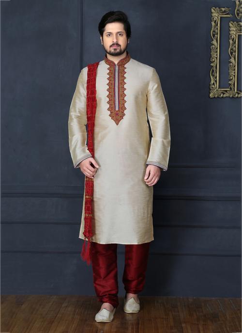 Party Wear Cream Art Silk Embroidery Work Sherwani Style