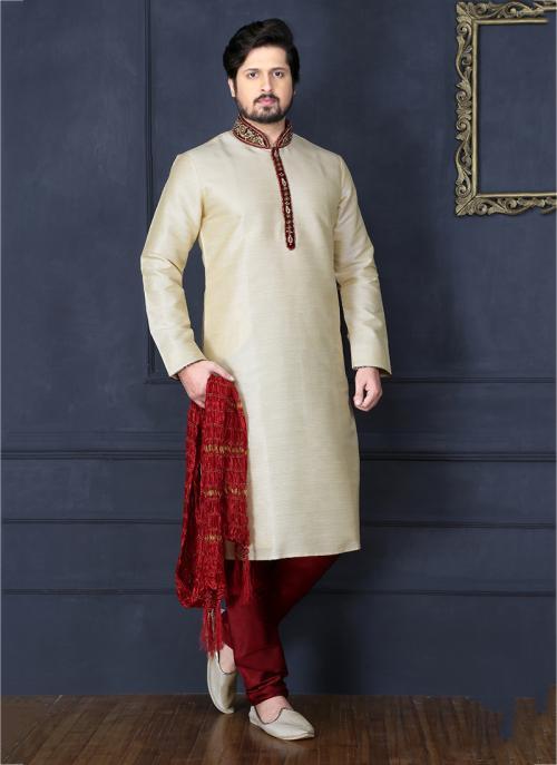 Party Wear Cream Banarasi Silk Embroidery Work Sherwani Style