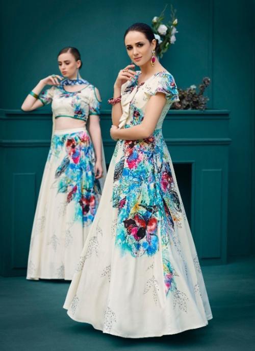 Party Wear Cream Silk Digital Print Lehenga Choli
