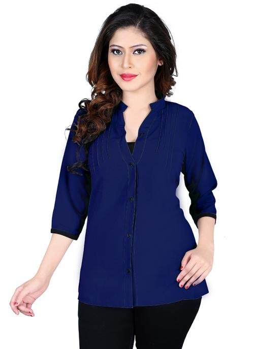 Party Wear Dark Blue Georgette Plain Top