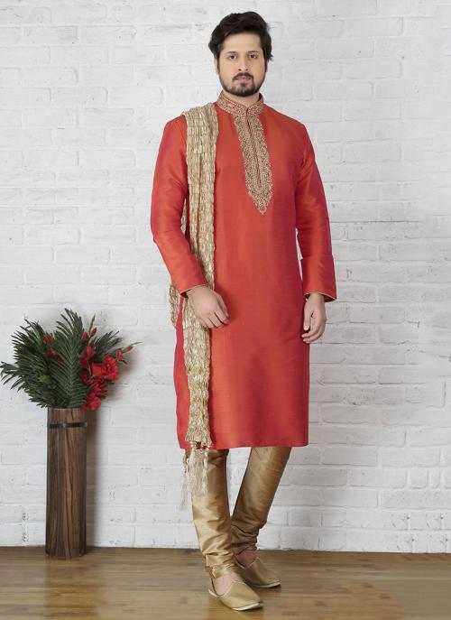 Party Wear Gajri Art Silk Embroidery Work Sherwani Style