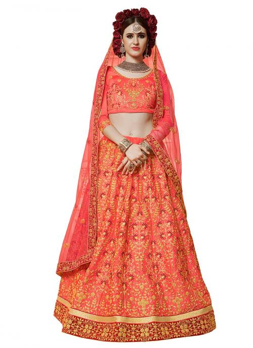 Party Wear Gajri Satin Silk Embroidery Work Lehenga Suit
