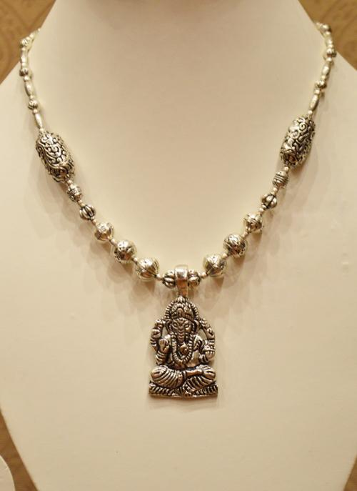 Party wear ganesha silver necklace for girls