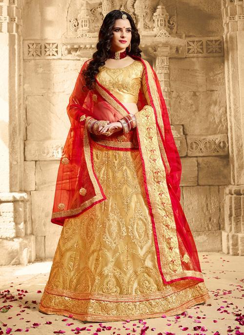 Party Wear Golden Net Zari Embroidery Work Lehenga Choli