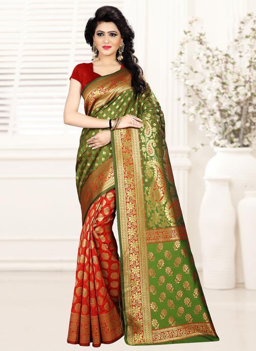 Party Wear Green Art Silk Zari Work Saree