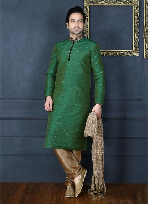 Party Wear Green Banarasi Silk Embroidery Work Sherwani Style