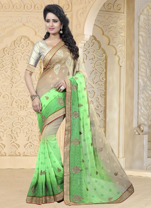 Party Wear Green Chiffon Embroidery Work Saree