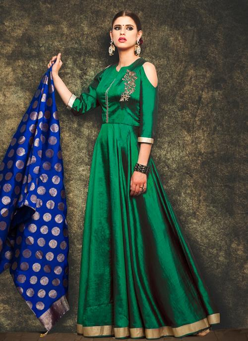 Party Wear Green Mastani Silk Patch Work Anarkali Suit