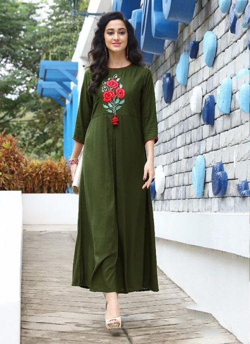 Party Wear Green Rayon Embroidery Work Kurti
