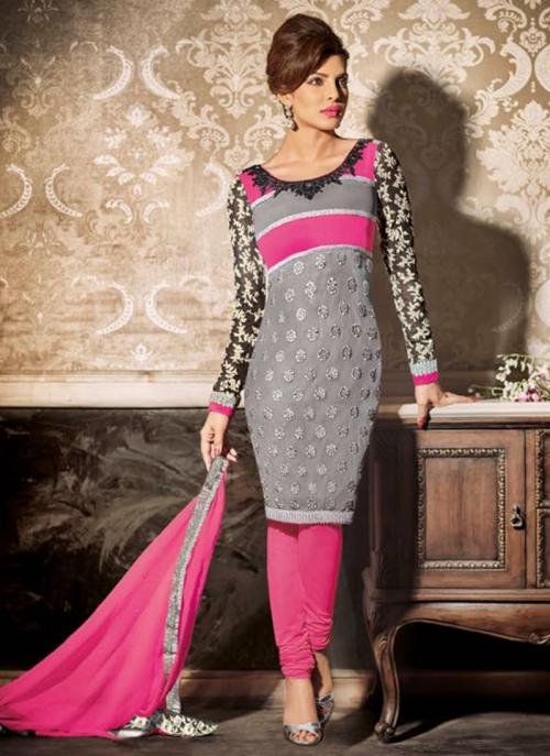 Party Wear Grey Georgette Embroidered Work Salwar Suit