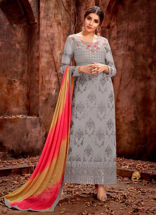 Party Wear Grey Georgette Embroidery Work Churidar Suit