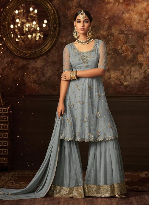 Party Wear Grey Net Embroidery Work Salwar Suit