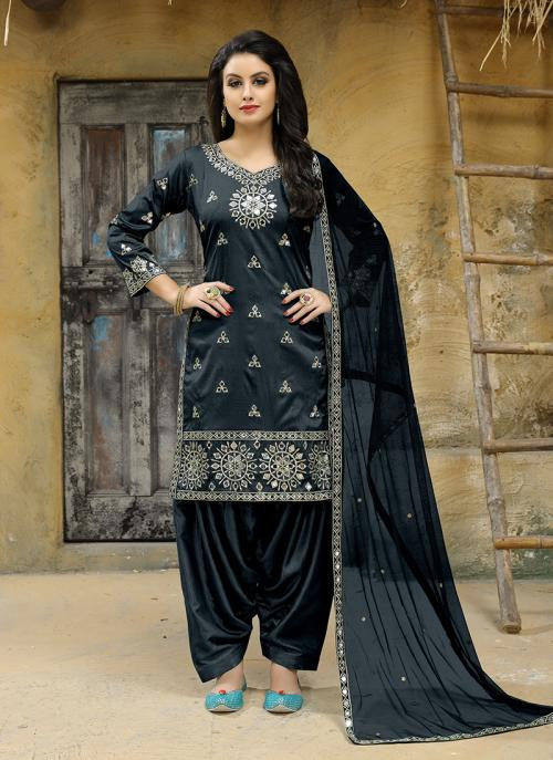 Party Wear Grey Tapeta Silk Embroidery Work Salwar Suit