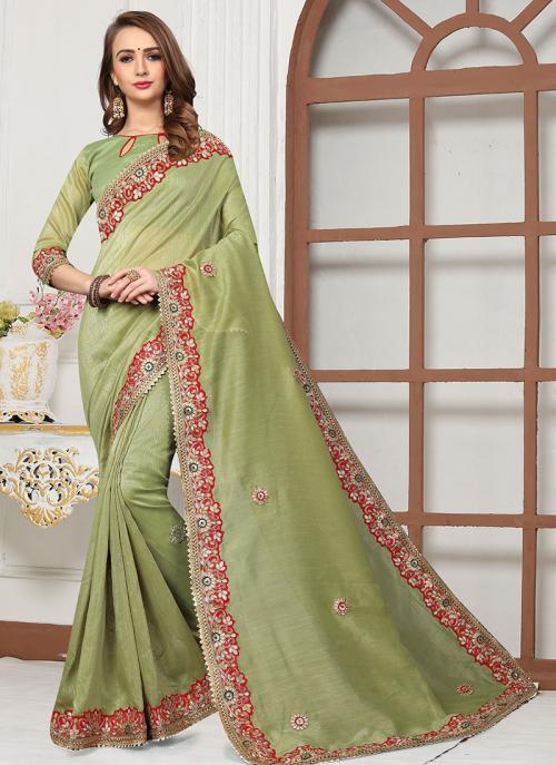 Party Wear Light Green Cotton Silk Gota Work Saree