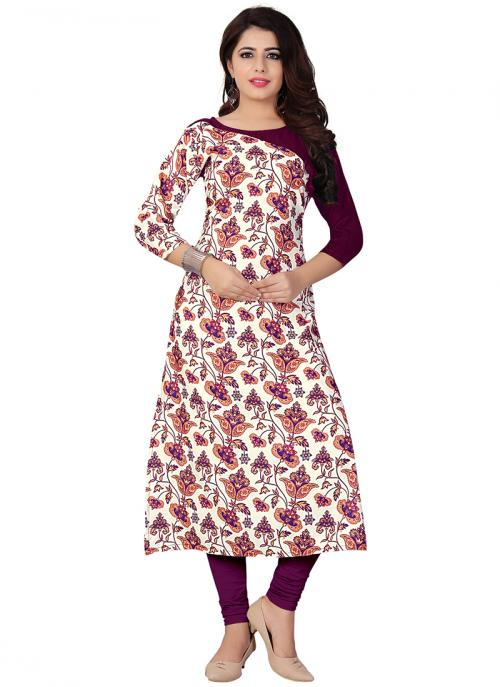 Party Wear Magenta Crepe Printed Work Kurti