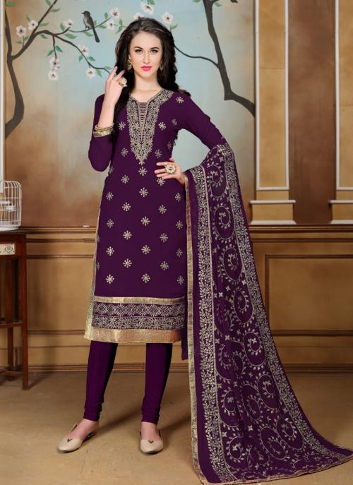 Party Wear Magenta Faux Georgette Heavy Embroidery Work Churidar Style