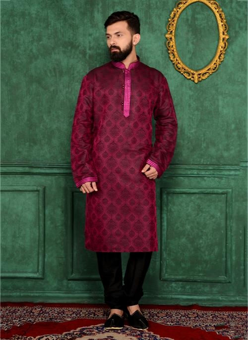 Party Wear Magenta Jacqaurd Silk Embroidery Work Kurta Pajama